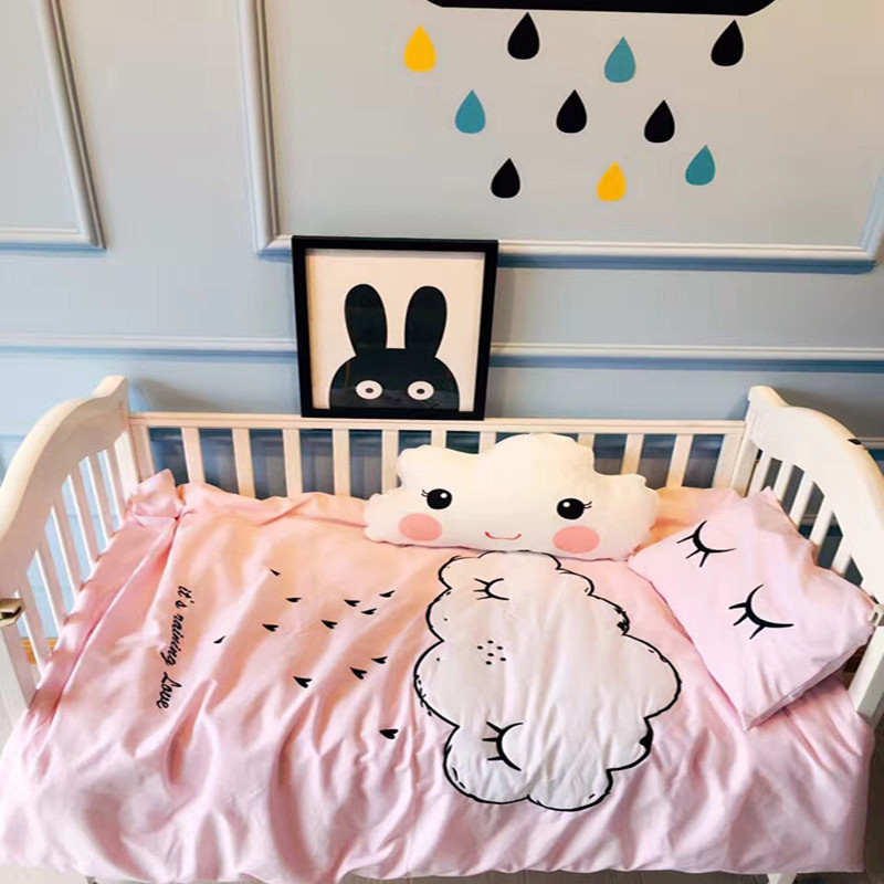 3Pcs/Sets Cotton Baby Bedding Set Stamping Embroidery Clouds Pattern Baby Cot Shee Quilt Cover Pillow Case Baby Bed Decorations creative clouds and person pattern square shape flax pillowcase without pillow inner