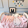 3Pcs/Sets Cotton Baby Bedding Set Stamping Embroidery Clouds Pattern Baby Cot Shee Quilt Cover Pillow Case Baby Bed Decorations