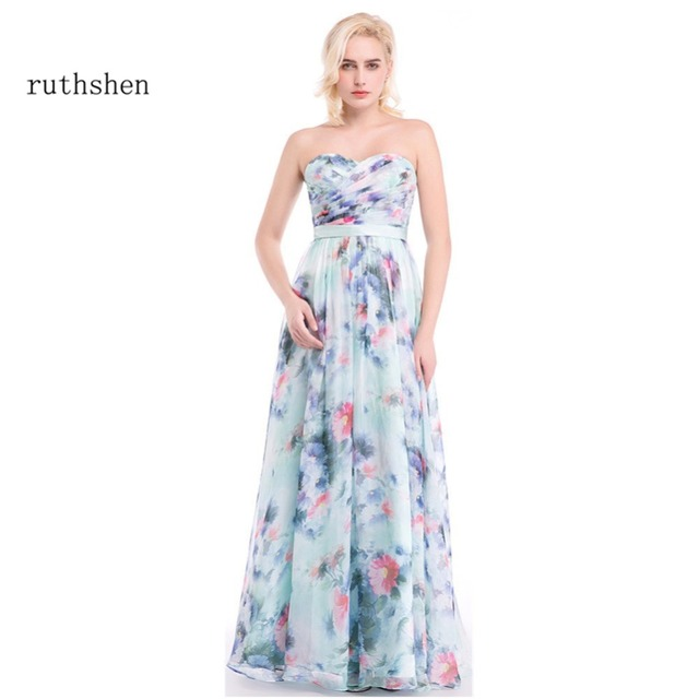 ruthshen Floral Print Long Evening Dress 2018 Sweetheart Pattern Elegant Prom  Gowns Chiffon Pleated Formal Evening Dresses 1e5c8ad4a49e