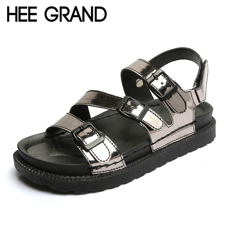 HEE GRAND 2017 Creepers Summer Platform Gladiator Sandals Casual Shoes Woman Slip On Flats Fashion Silver Women Shoes XWZ4074 2017 summer new rivet wedges sandals creepers women high heel platform casual shoes silver women gladiator sandals zapatos mujer