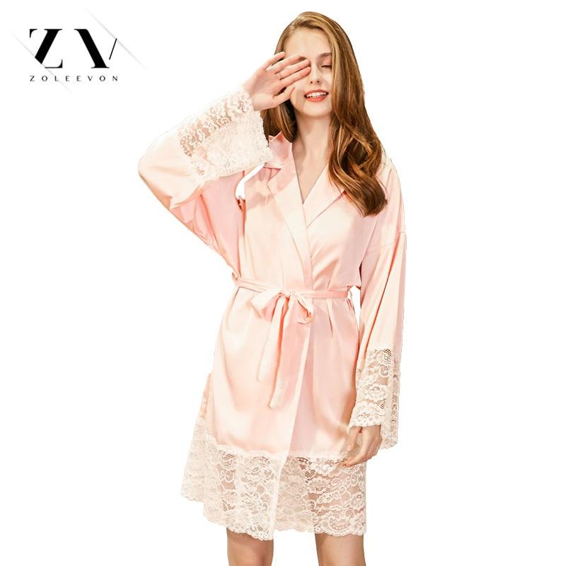 Silk Dressing Gowns Ladies: Silk Robe Spring Women's Pajamas Summer Sexy Lace Bathrobe
