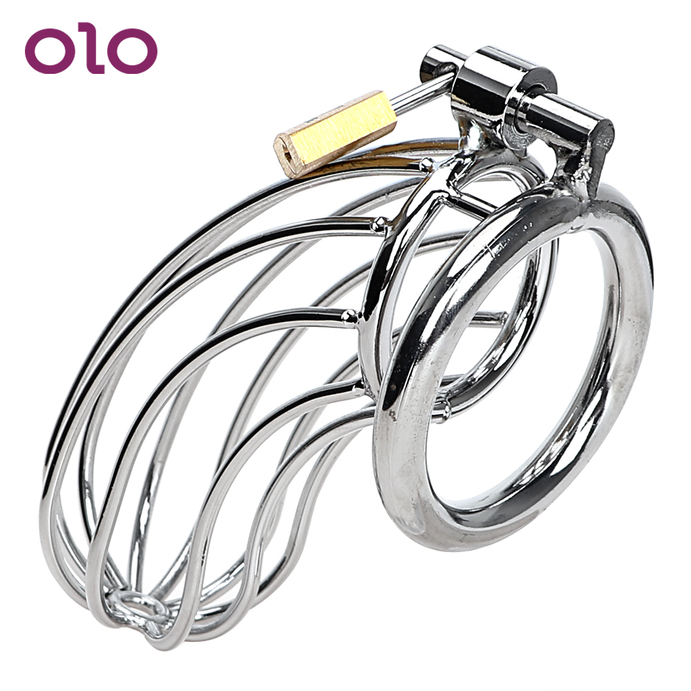 OLO <font><b>Adult</b></font> Games Stainless Steel <font><b>Cock</b></font> Cage Lockable <font><b>Sex</b></font> <font><b>Toys</b></font> <font><b>for</b></font> <font><b>Men</b></font> Penis <font><b>Cock</b></font> <font><b>Ring</b></font> Sleeve Lock Male Chastity Device image