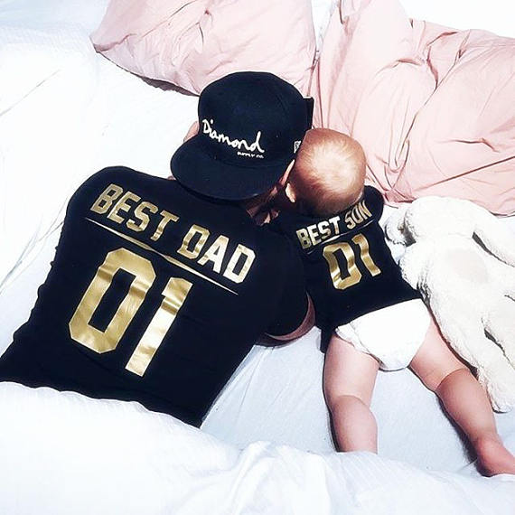 dae2370c76e OKOUFEN cute funny tumblr mens tshirt father Best DAD gold family t-shirt  letter print