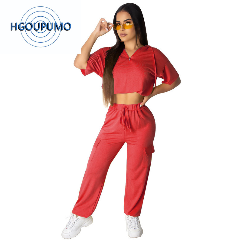 Sexy 2 Piece Outfits For Women Summer Festival Clothing Front Zipper Short Sleeve Crop Top And Loose Long Pants Casual Tracksuit