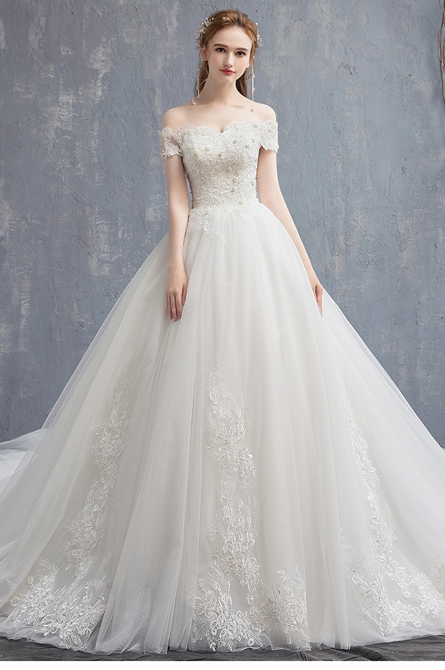 Lace Vintage Wedding Dress.Us 73 07 31 Off Applique Lace Vintage Wedding Dress 2019 New Off Shoulder Bride Dress Princess Dream Wedding Gown China Bridal Gowns In Wedding