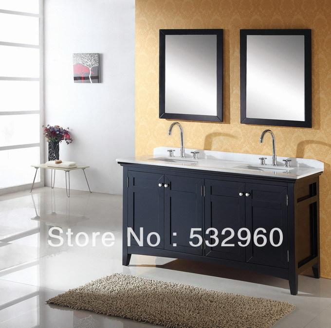 Free Standing Transitional 18mm Thailand Oak Dual Sink Wooden Bathroom Furniture In Bathroom