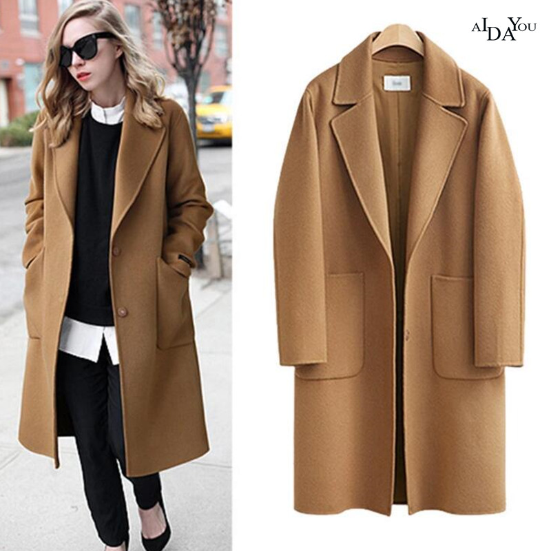 2018 Spring Autumn Woolen Coat Plus Size L-5XL Long Overcoat Korea Style Female Loose Coat Solid Color Casual Outwear ouc2707