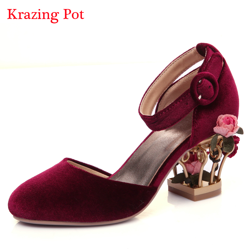 ФОТО Fashion superstar large size birdcage brand shoe round toe ankle strap high heels women pumps flower shallow party wedding shoes