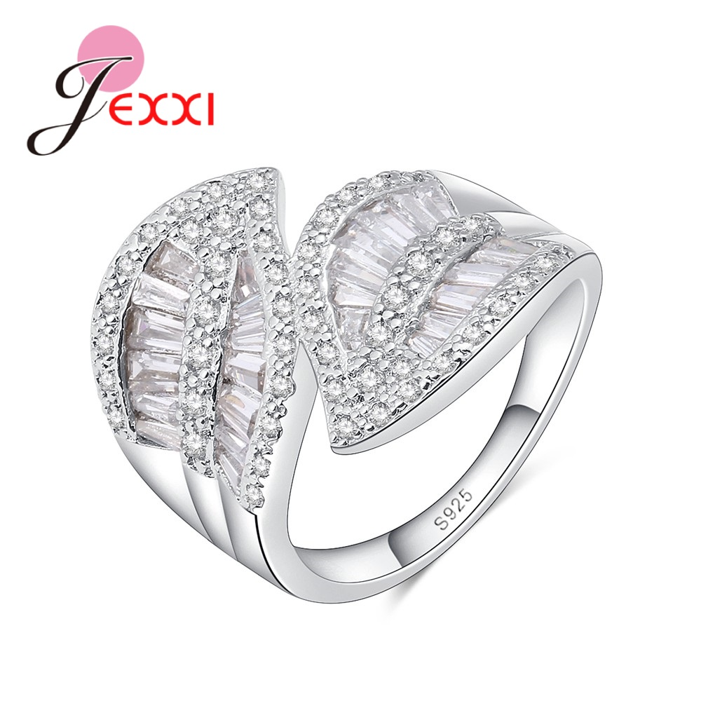 JEXXI 925 Sterling Silver Silver Cross LEAVES Finger Rings White CZ Full-zirconia Wedding Jewelry for Women Bague Anillos Party