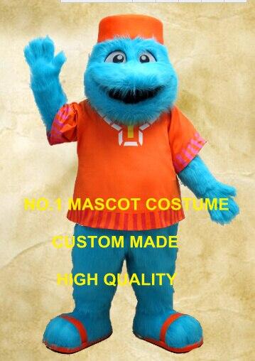Синий Монстр талисман длинные волосы плюшевый костюм высокого качества Хэллоуин Монстр тему аниме Cosply Костюмы Mascotte нарядное платье 2084