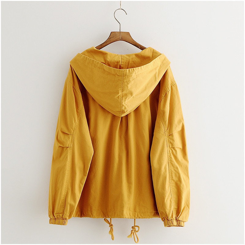 原宿秋女性オーバーコート韓国のビッグサイズのフード付きショートコート女性黄色のジャケット長袖上着女性  グループ上の レディース衣服 からの ベーシックジャケット の中 2