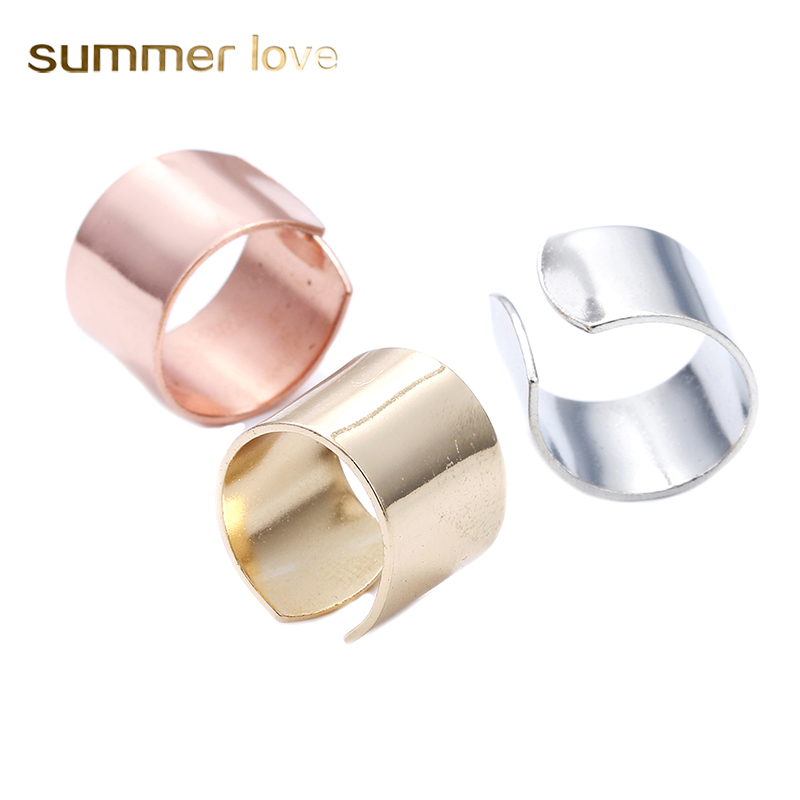 Fashion Jewelry Cuff wide Open opening unisex Rings Gold Silver Color Punk Metal Knuckle Rings Finger Ring for Women Men Size 7