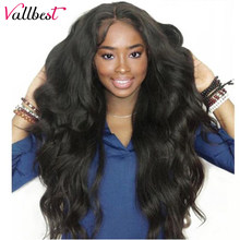Vallbest Brazilian Body Wave Lace Front Human Hair Wigs 150% Density 13*4 Lace Front Wigs With Baby Hair For Black Women Remy 1B(China)