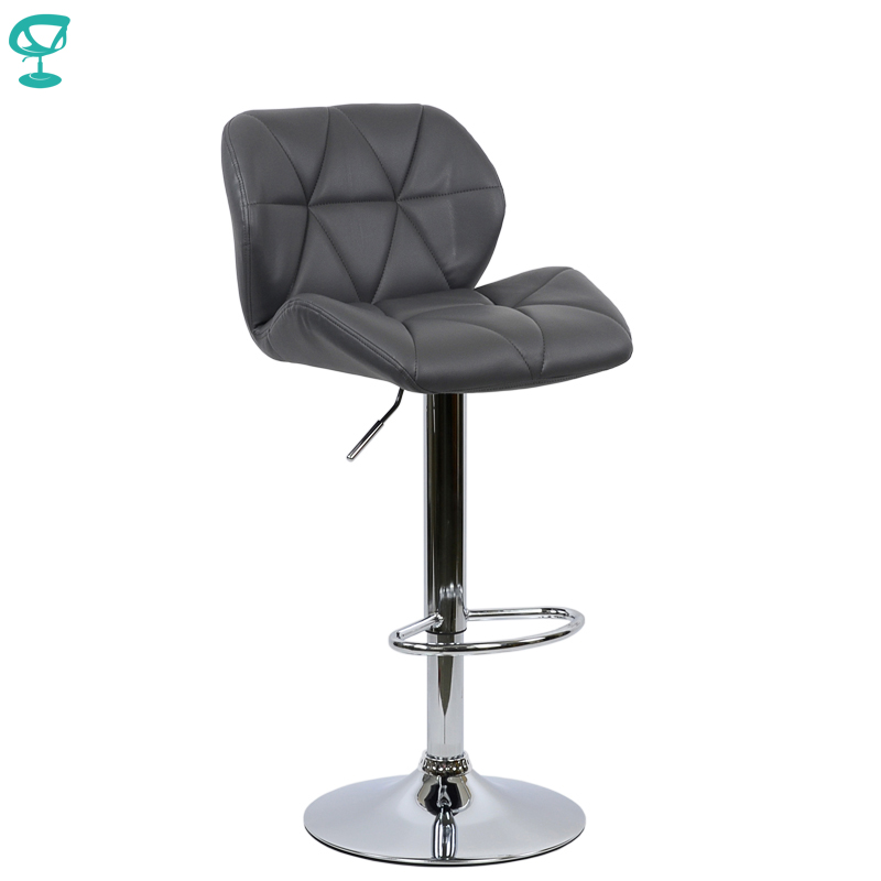 94970 Barneo N-85 Leather Kitchen Breakfast Bar Stool Swivel Bar Chair Gray Color Free Shipping In Russia