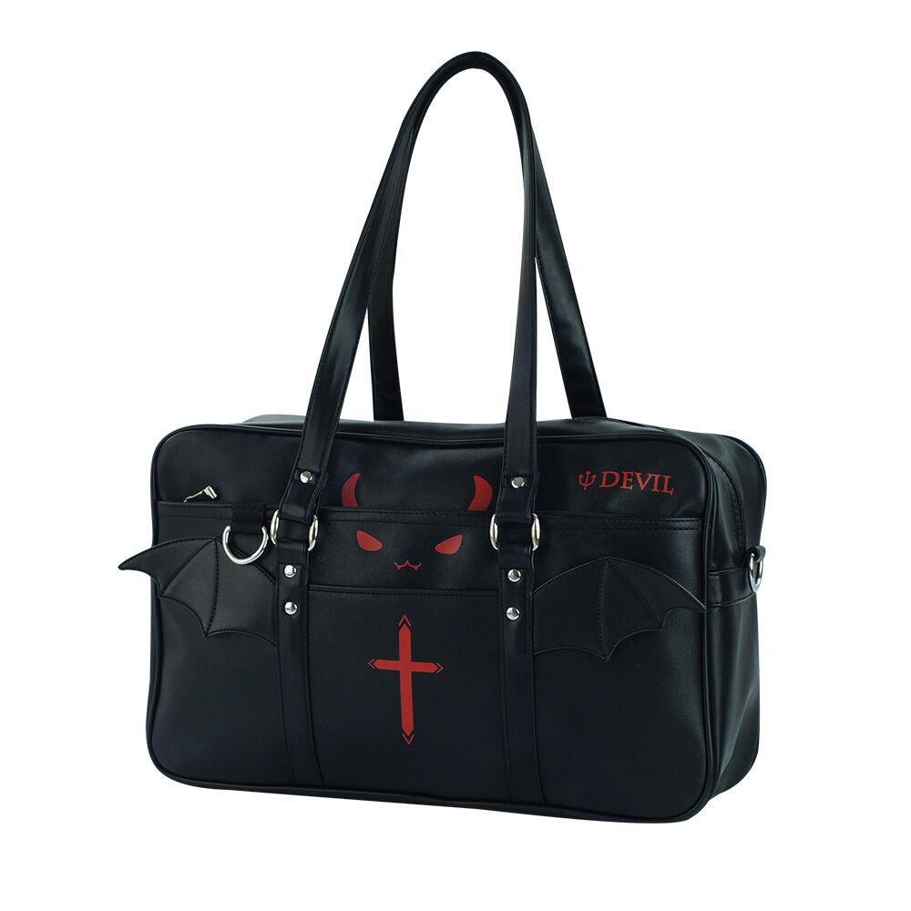 Black Little Devil Wings Shoulder Zipper Messger Bag Japanese Lolita JK Uniform Student School Book Bag Handbag Halloween 2WAYS