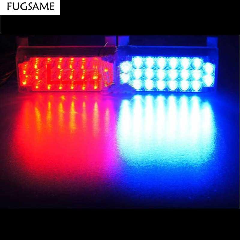 FUGSAME 2 * 22LED Výstražná světla pro autosedačky Nouzové vozidlo Flash EMS Police Truck Firemen12V Bílá Červená Modrá Žlutá Žlutá 3mode
