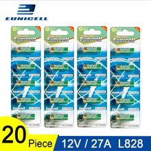 20pcs=4 Cards 12V 27A Dry Alkaline Battery 27AE 27MN A2 L828 V27GA EL812 A27 MN27 G27A Eunicell 50mAh High Voltage Batteries