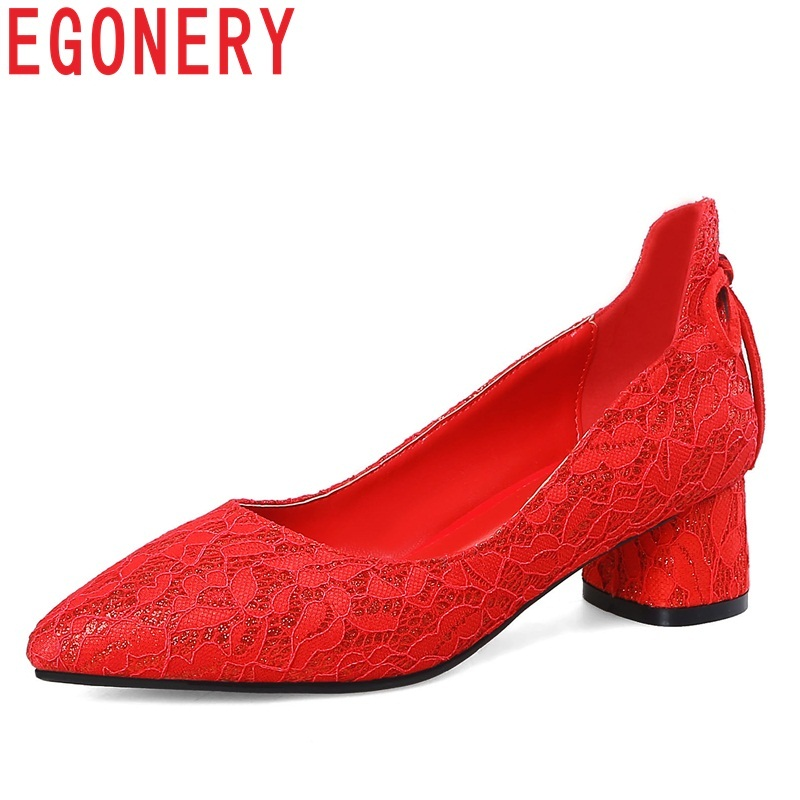 EGONERY women shoes new fashion sexy lace med square heel pointed toe bowties wedding shoes slip-on shallow red sweet lady pumps 2018 spring autumn new lace flower wedding shoes slip on round toe bridal shoes high heel women pumps shallow pointed toe 8 5cm