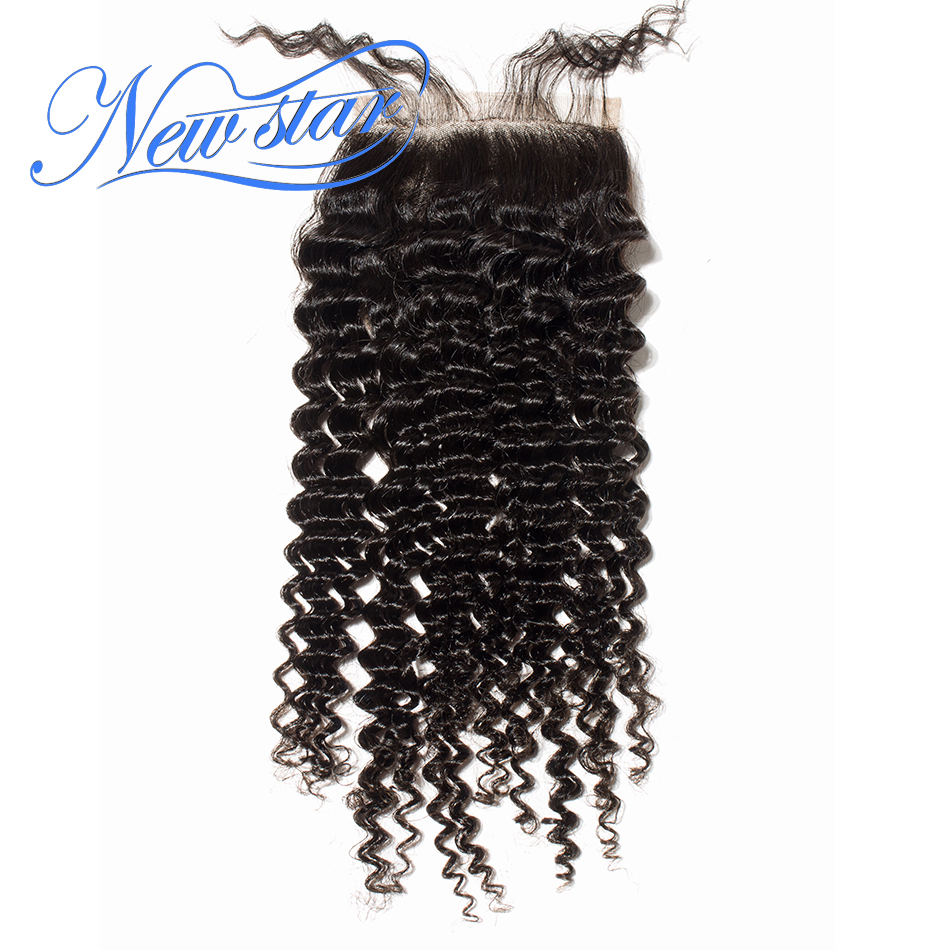 Hair Closures Lace Part-Style Deep-Curly Virgin Bleached-Free Brazilian Brown New Guangzhou