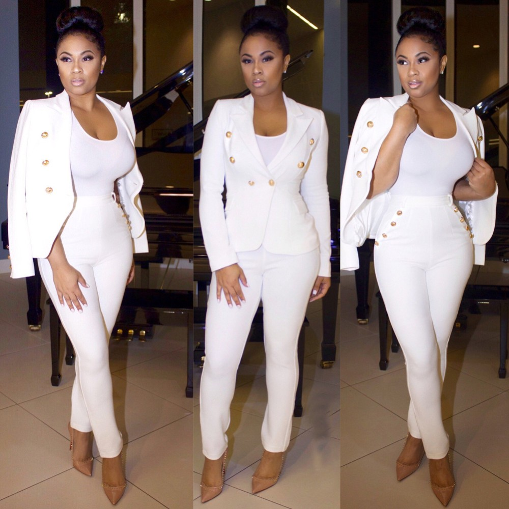2 Piece Set Women Suit 17 New Formal Office Work Wear Blazer Jacket Tops And Skinny Pants Women Suits Two Piece Set 4