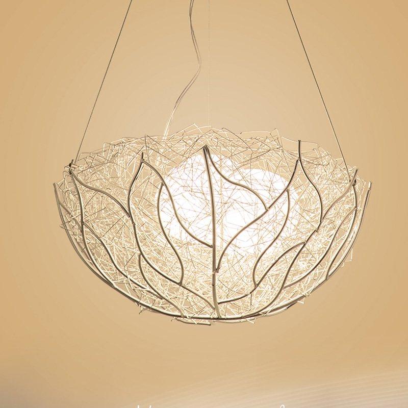 Modern Birds Nest Restaurant Pendant Light Silver Aluminum Glass Eggs Bar Counter Hanging Lamps Dining Room Pendant Lights