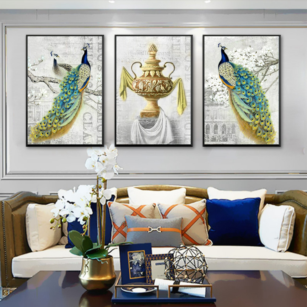 Unframed HD 3 Nordic Art Paintings Peacock Censer Inkjet Canvas Painting For Living Room Decoration Free Shipping Dropshipping