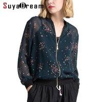Women Jacket 100%Mulberry Silk Casual Zipper Printed Transparent Jackets 2018 Fall Winter New Outwear Navy