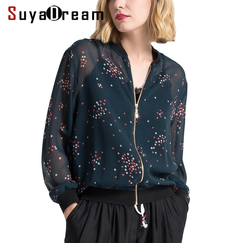 Women Jacket 100%Mulberry Silk Casual Zipper Printed Transparent Jackets 2019 Spring New Outwear Navy