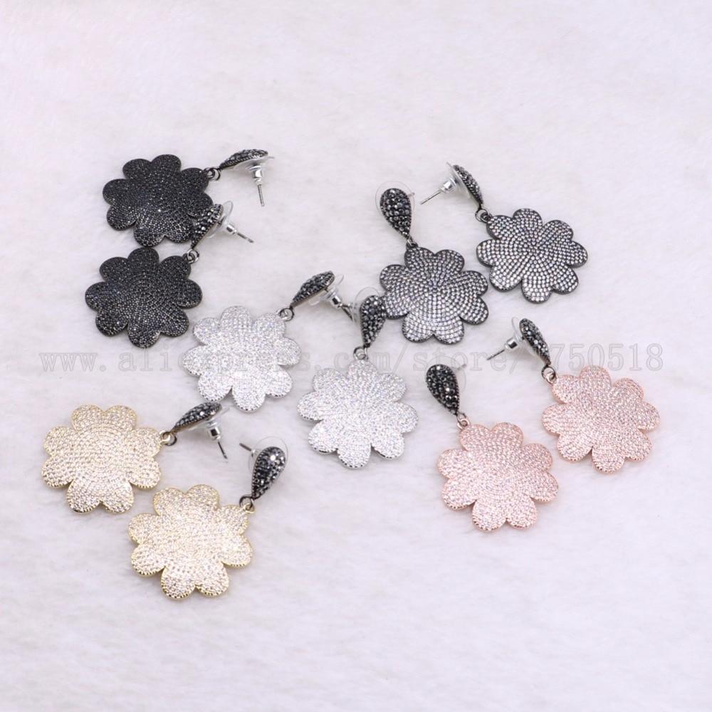 3 pairs flowers earrings mix colors druzy earrings pave zircon dangle earrings drop earrings Gems stone