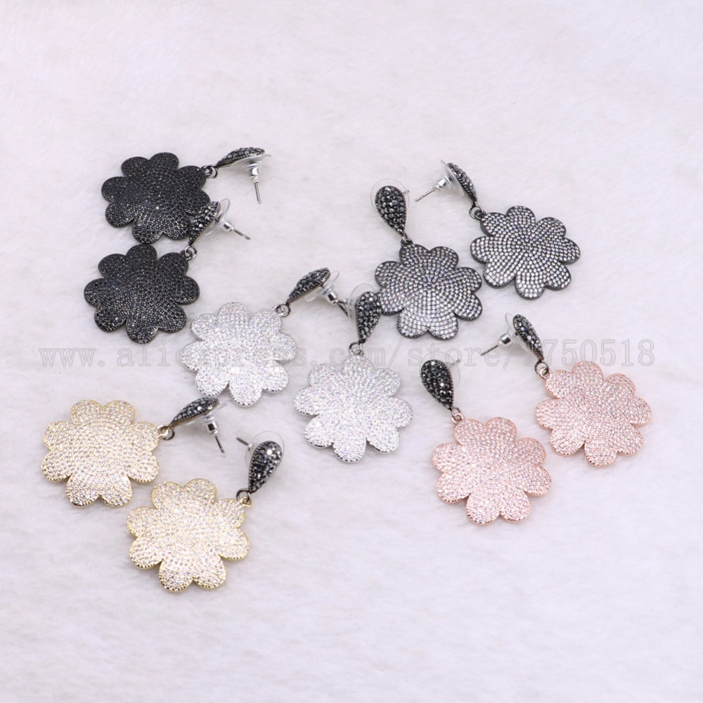 3 pairs flowers earrings mix colors druzy earrings pave zircon dangle earrings drop earrings Gems stone jewelry 3525