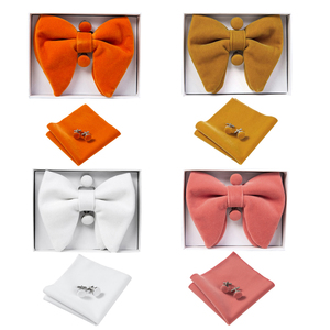 Image 3 - Ricnais Velvet Big Bow Tie Mens Bowties Pocket Square Cufflinks Set Solid Red Blue Handkerchief Necktie For Man Wedding Gift