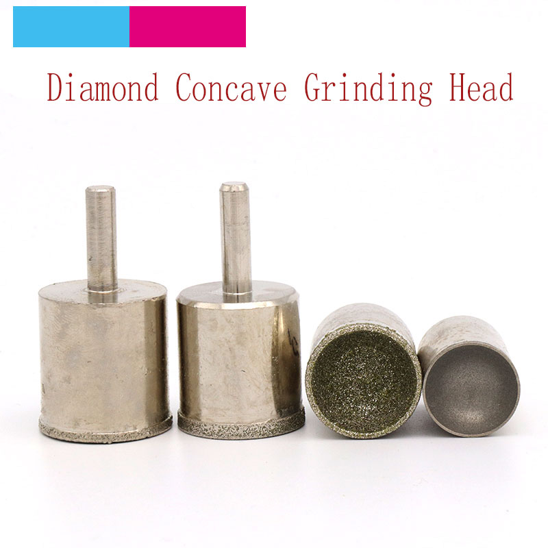 1pcs Fine Rough Sand 3~25mm Diamond Concave Polisher Suction Eye Socket Bead Grinding Head For Jade Bodhi Root Ball Round Beads