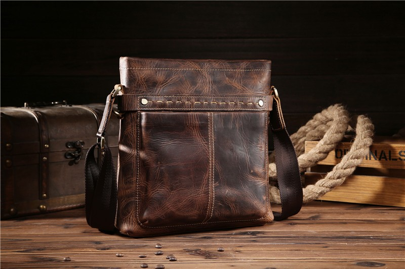 Shoulder Bag Man Brown Small Lightweight Genuine Leather Unique Simple Vintage Style Daily Outdoor Activities Party Handy
