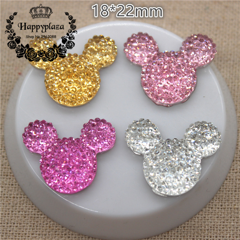 30pcs Kawaii Resin Shiny Rhinestone Mouse Flatback Cabochon DIY Craft Decoration,18*22mm