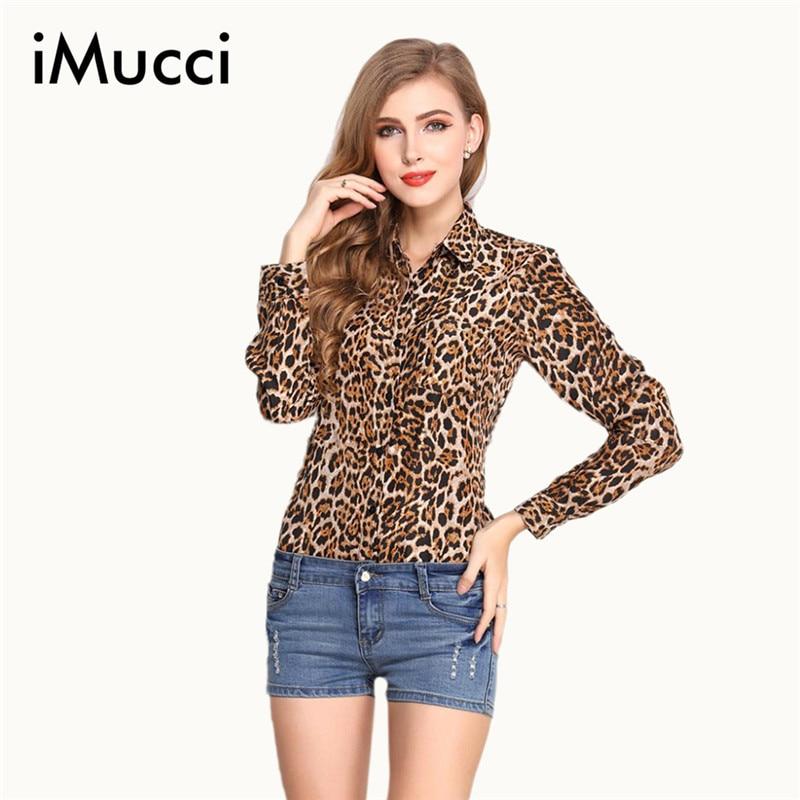 Una Sexy leopardo de impresión de la gasa blusas camisa verano flojo de manga la