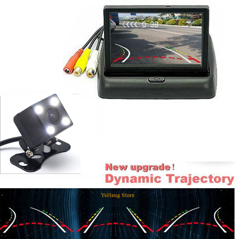 Universal Dynamic trajectory camera Car Rear view Camera with 4.3 inch 800*4Foldable Monitor TFT LED Screen Parking Assistance