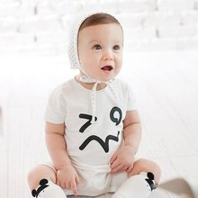 Lovely Baby Romper Infant Short Sleeve Symbol Printed Kid Newborn Jumpsuit