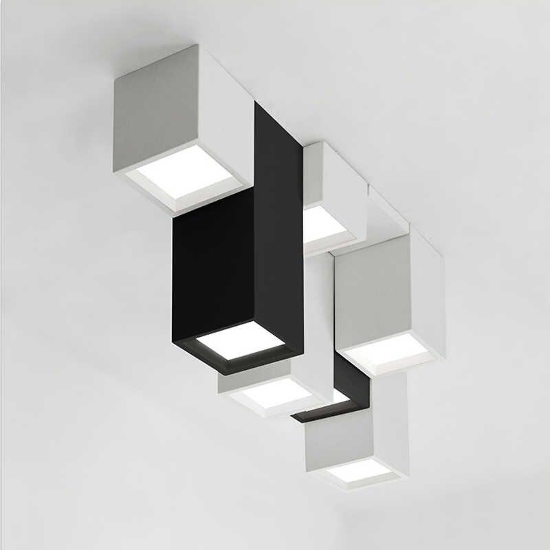 Combinação criativa de acrílico moderno, combinação de iluminação de teto geométrica led, decoração caseira, lâmpada de teto quadrada personalizada