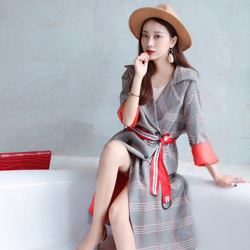 2019 england style new temperament women's winter   trench   coat with red adjustable waist plaid outerwear   trench   coat female A28