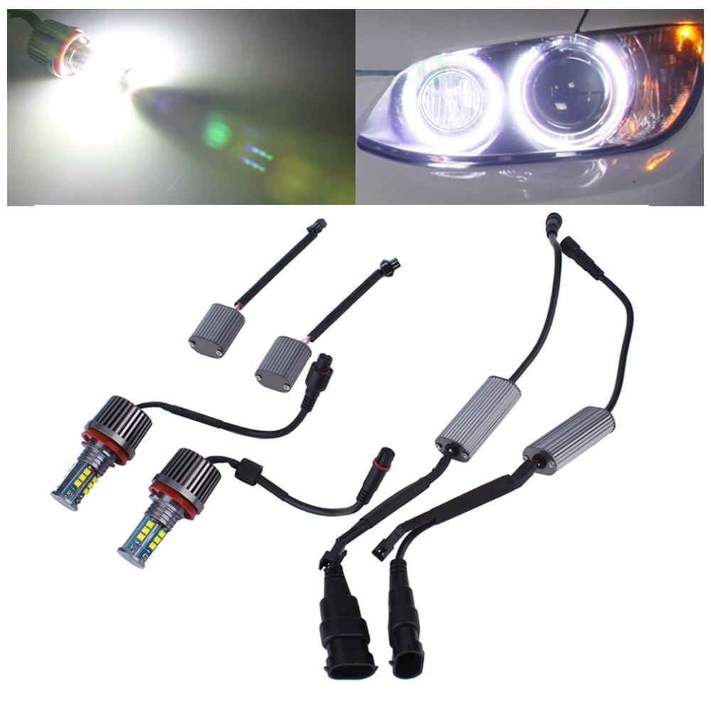 2 Pcs Super Bright Error Free LED Angel Eyes Light Bulbs For BMW E92 H8 120W High Heat Resistance Low Consumption Drop Shipping 2pcs high quality superb error free 5050 smd 360 degrees led backup reverse light bulbs t20 for hyundai i30