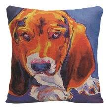 Cute Dog Cushion Cover Decorative Pillow For Sofa Car Covers Fashion Pet Animal Pillow Case Cotton Linen Home Decor Pillowcase