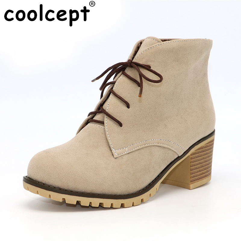 Coolcept Brand Women Lace Up Ankle Boots Woman Round Toe Square Heel Shoes Woman Winter Warm