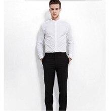 New style men shirt groom wedding shirt high quality solid color mandarin collar formal shirt business shirt long sleeve
