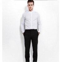 Nieuwe stijl mannen shirt bruidegom shirt hoge kwaliteit effen kleur mandarijn kraag formele business shirt lange mouw
