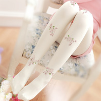 Cherry Does Not Hook Wire Tights Literary Retro Print Tights Fashion Flower Girl Tights
