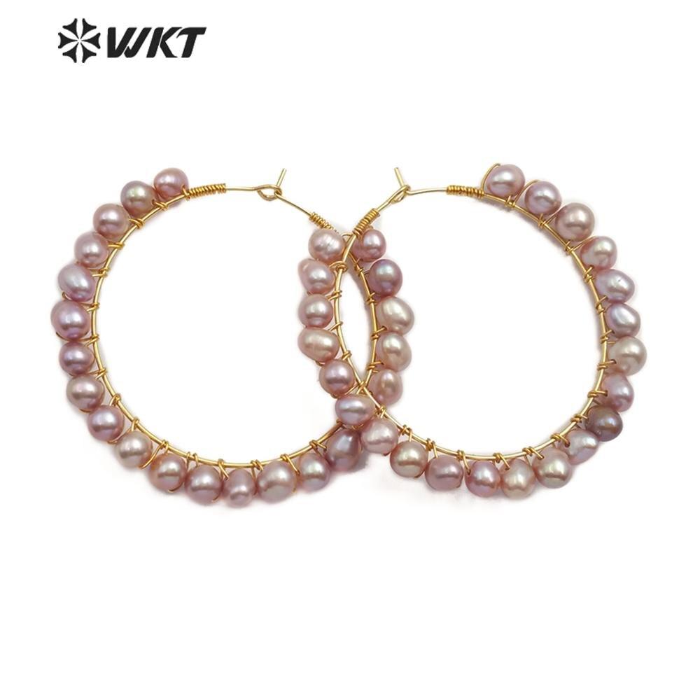 WT E547 naturalne perły kolczyk biały żółty fioletowy kolor okrągłe perły kolczyk girlanda kształt piękne kolczyki biżuteria ślubna w Kolczyki wiszące od Biżuteria i akcesoria na  Grupa 1