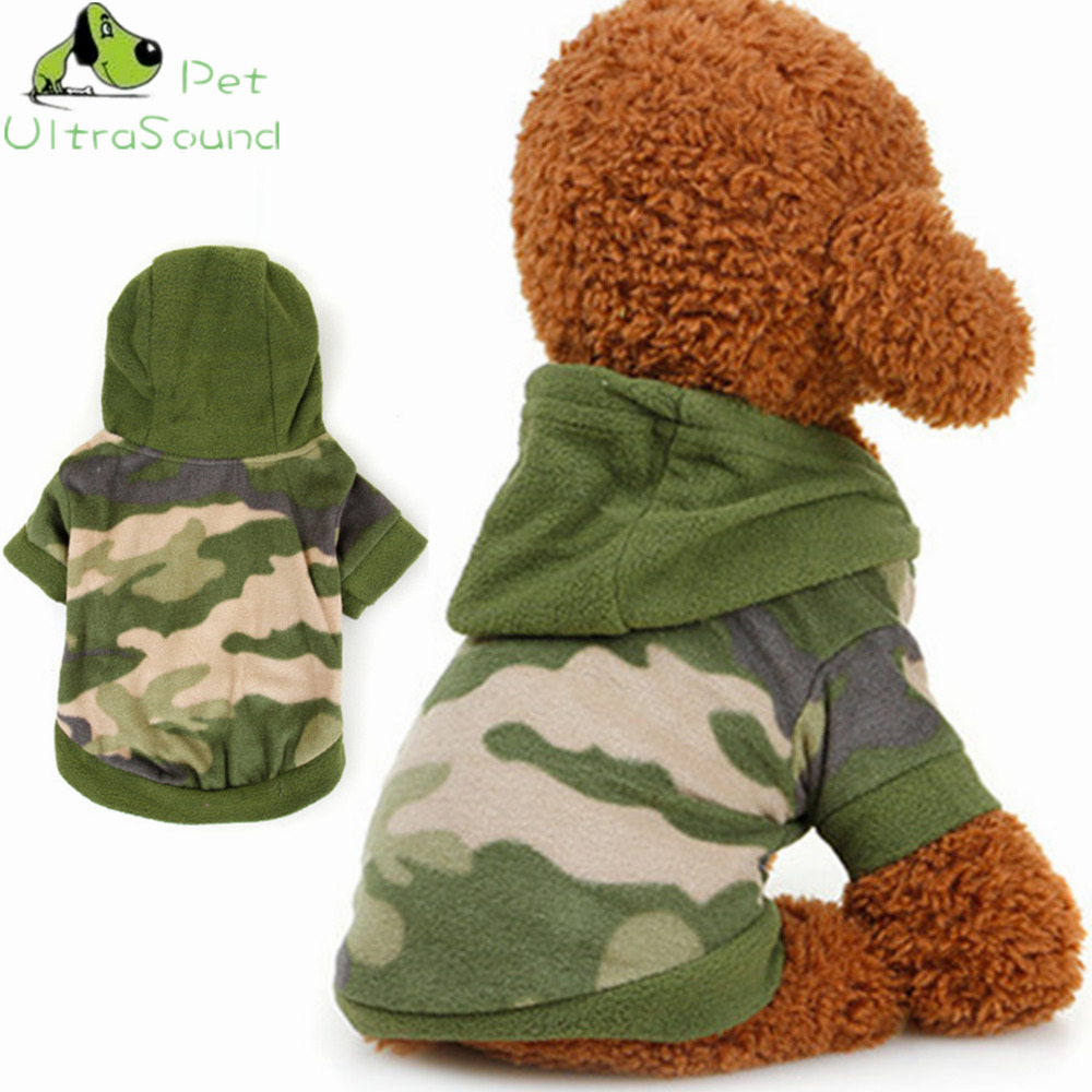 ULTRASOUND PET Autumn Winter Pet Dog Fleece Camouflage Hoodies Sweater Coat Navy Green Color With Warn Material Dog Coat Jackets