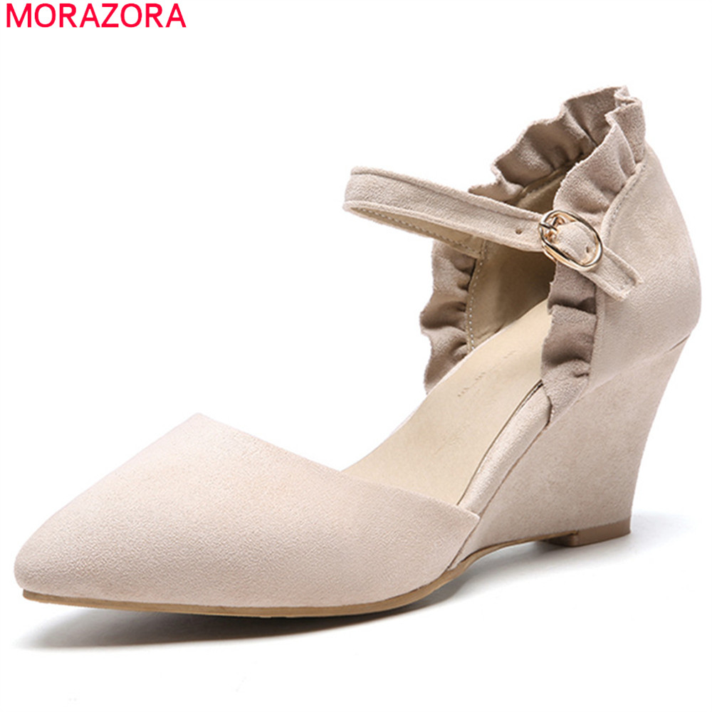 MORAZORA black pink fashion spring autumn shoes woman pointed toe buckle wedges shoes flock women high heels shoes size 33-44 memunia 2017 fashion flock spring autumn single shoes women flats shoes solid pointed toe college style big size 34 47