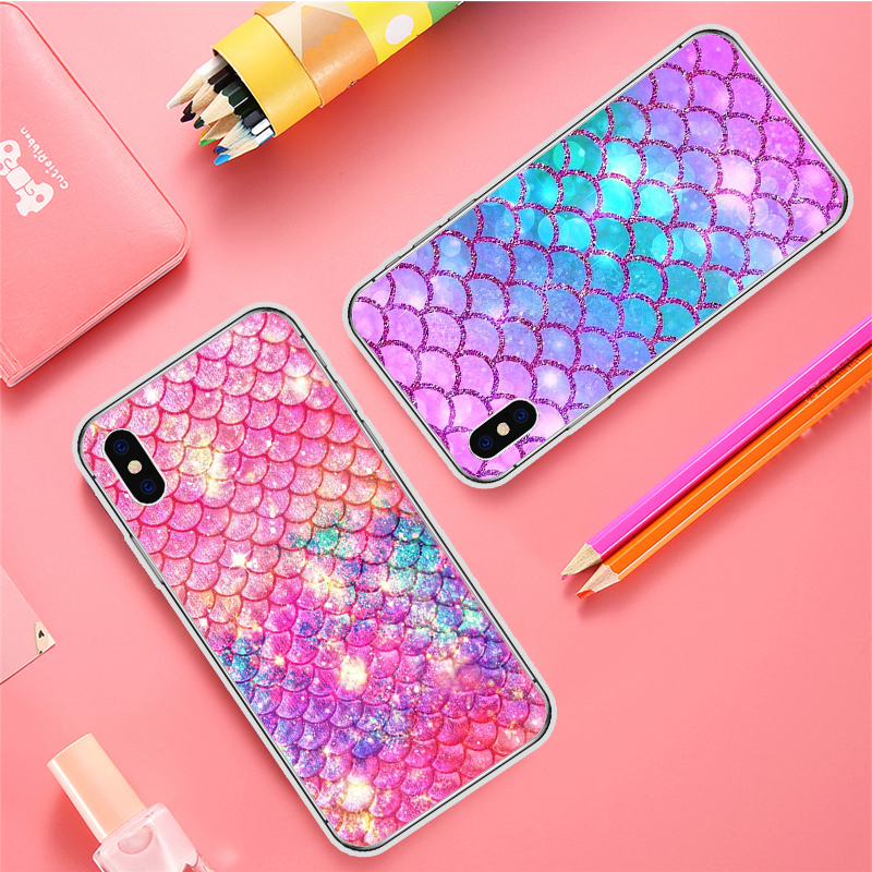 Galleria fotografica New Luxury Color Silicone Case For iPhone 5 5S SE Cases Fish Scales Cover For iPhone 6 6S 7 8 Plus X Phone Cover Fundas Coque