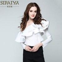 SIPAIYA One Shoulder Ruffles Blouse Shirt Women Tops 2017 Summer Casual White Shirt Long Sleeve Cool